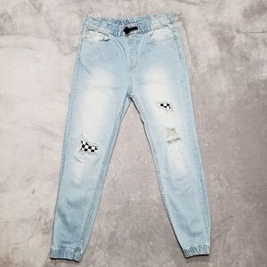 EAST POINTE Checkered Ripped Denim Jogger Pants